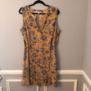 Loft Yellow Floral Sleeveless Shirt Dress